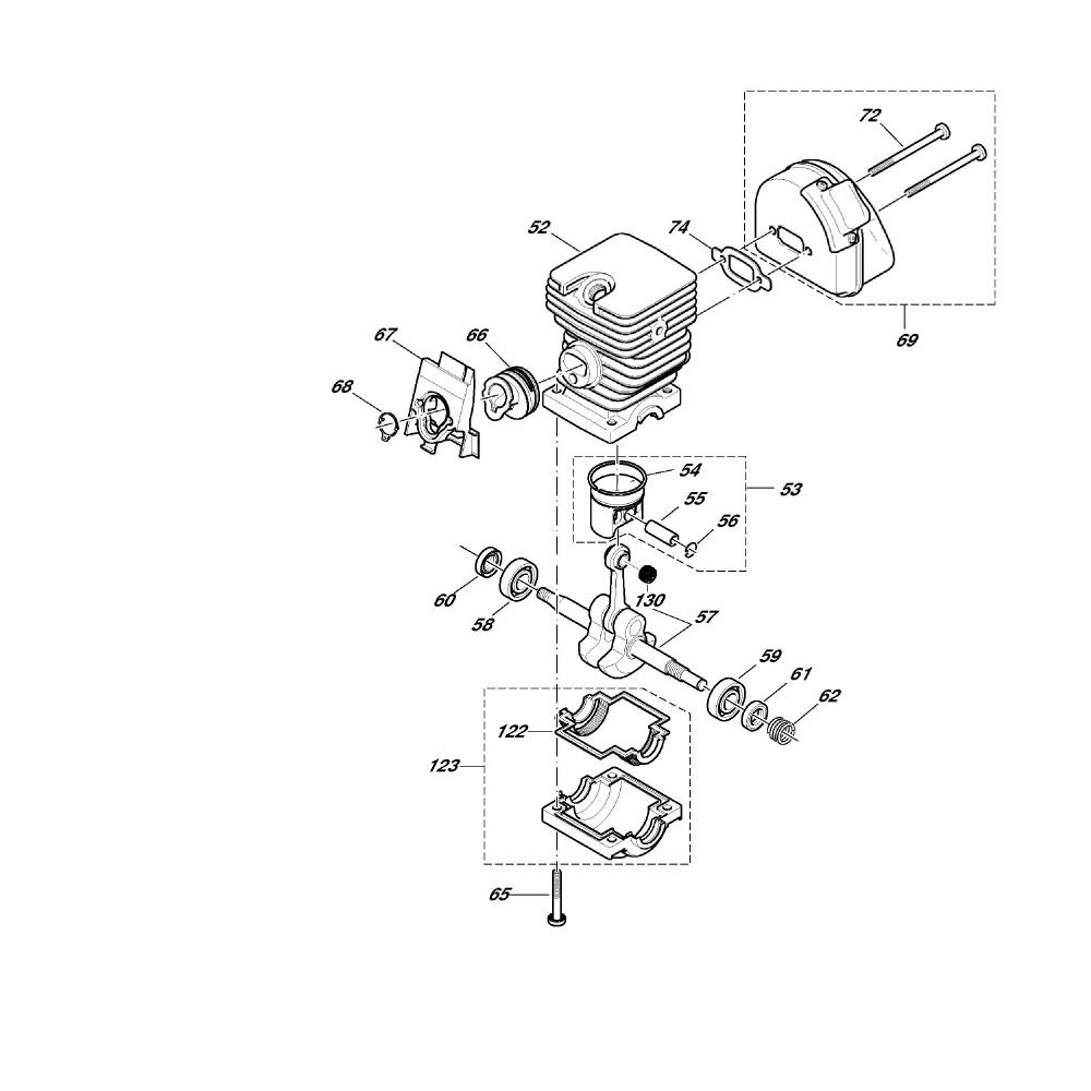 Zylinder, Kurbelwelle, Schalldämpfer