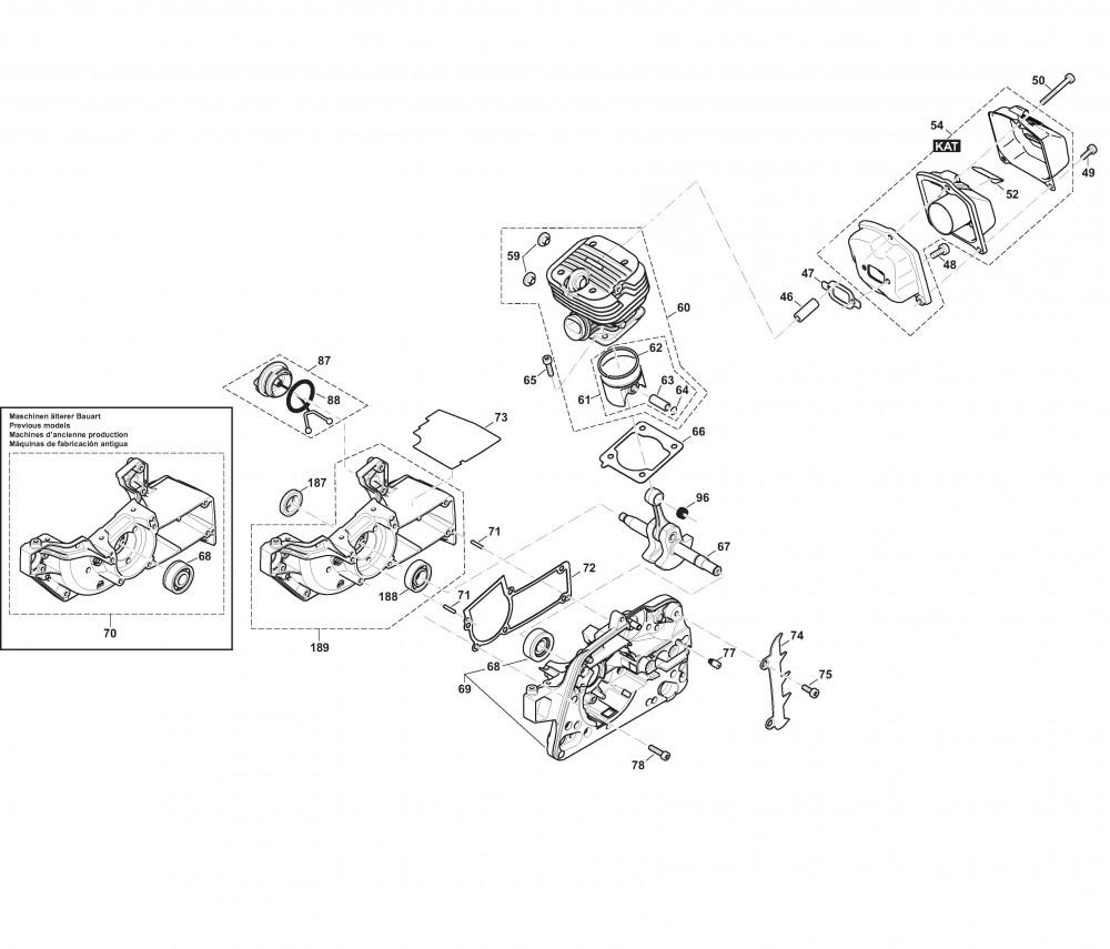 Kurbelgehäuse, Zylinder, Schalldämpfer