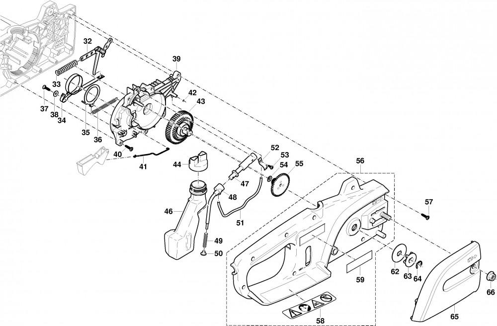 Gehäuse rechts, Getriebe, Kettenbremse