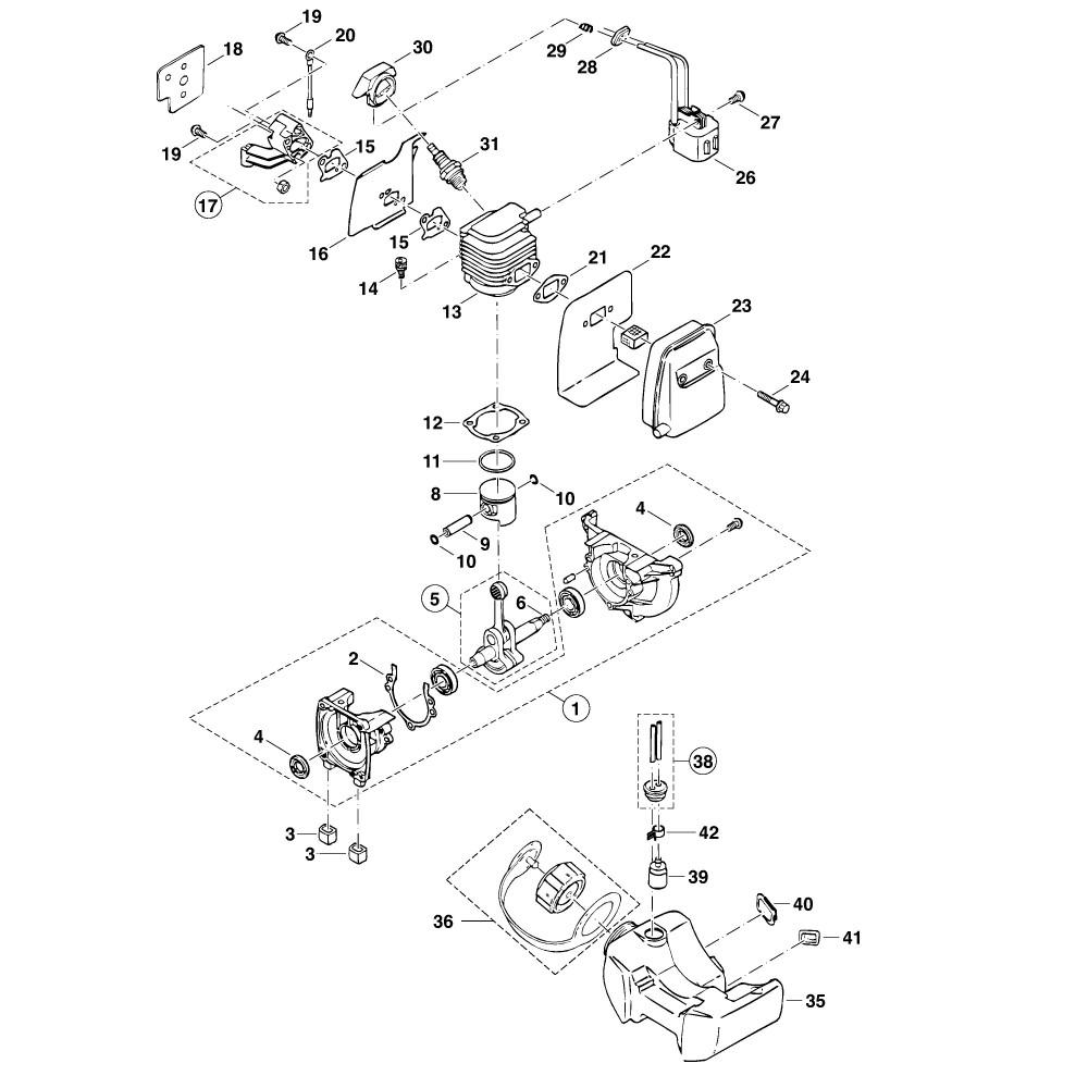 Kurbelgehäuse, Zylinder, Zündung, Schalldämpfer, Kraftstofftank