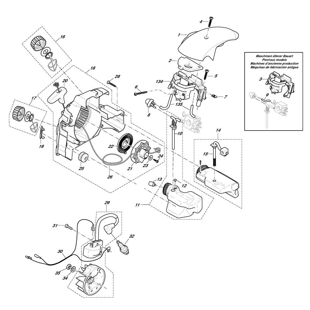 Anwerfvorrichtung, Zündelektronik, Tank