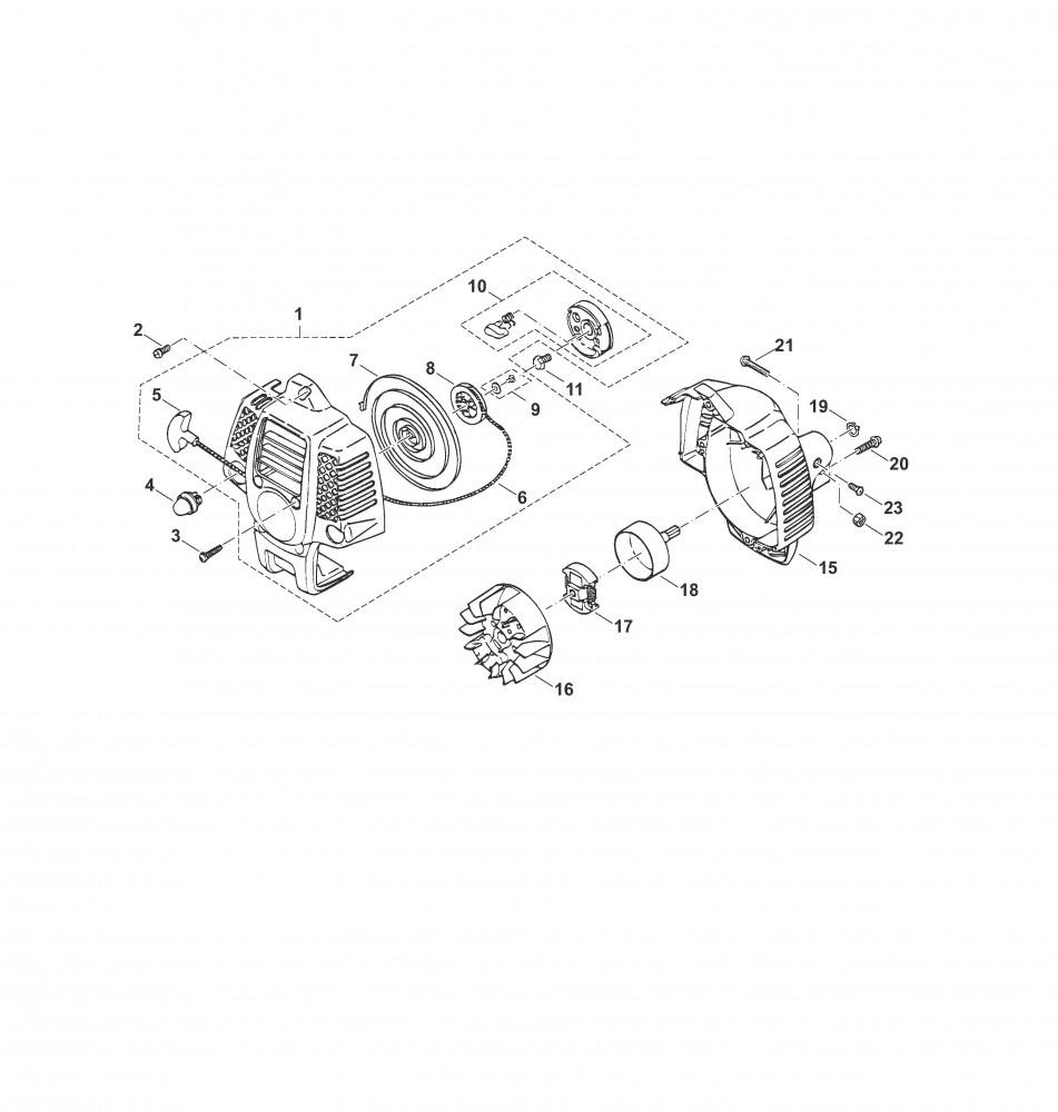 Motorgehäuse, Anwerfvorrichtung, Kupplung
