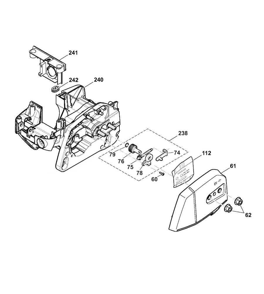 Motorträger, Kettenradschutz, Kettenspanner