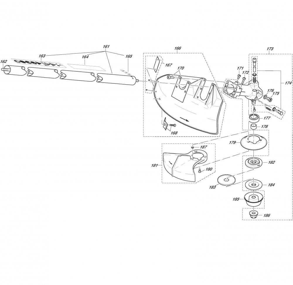 Hauptrohr, Winkelgetriebe, Schutzhaube